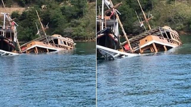 Sejumlah kapal di Labuan Bajo tenggelam karena corona (Facebook).