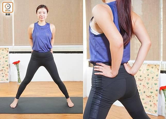 開始動作:雙腳打開闊過臀部,雙手放在腰後側,手肘往內收。(莫文俊攝)