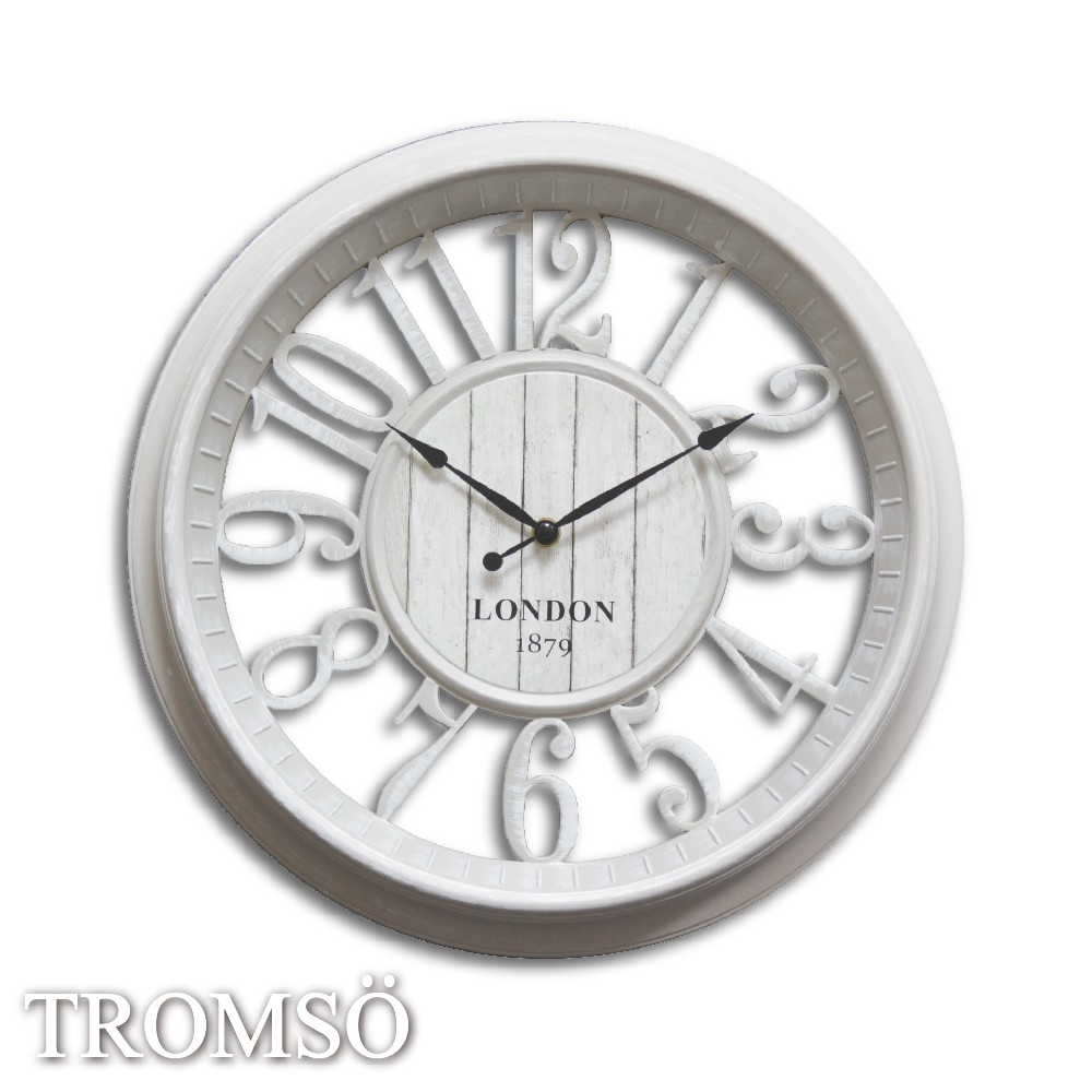 TROMSO紐約時代靜音時鐘-倫敦鏤空數字白 40x40 /掛鐘 室內 設計 民宿 布置☆大樹小屋【H0310128】