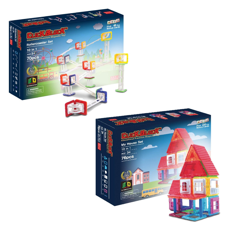 韓國 MagKinder x Click Block - 【2D 磁性建構組】-我的快樂小屋+歡樂滾球塔-76+70件組