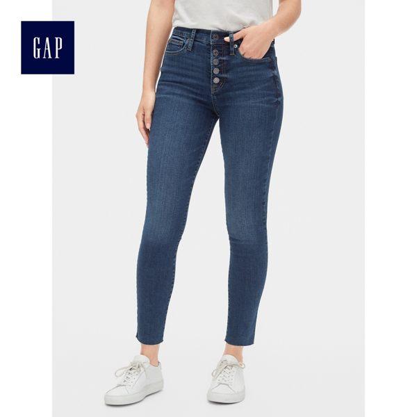 Gap女裝 高腰隱形口袋緊身九分牛仔褲 495954-靛藍色