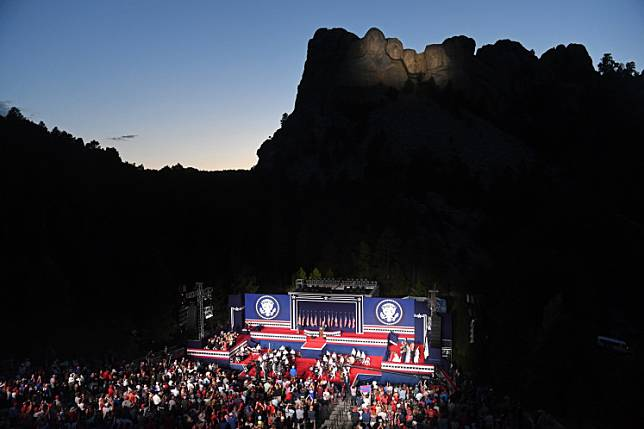US President Donald Trump speaks during the Independence Day events at Mount Rushmore National Memorial in Keystone, South Dakota, July 3, 2020.