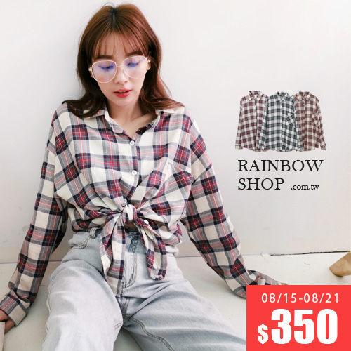 夾心餅乾單口袋格紋襯衫-I-Rainbow【A488305】