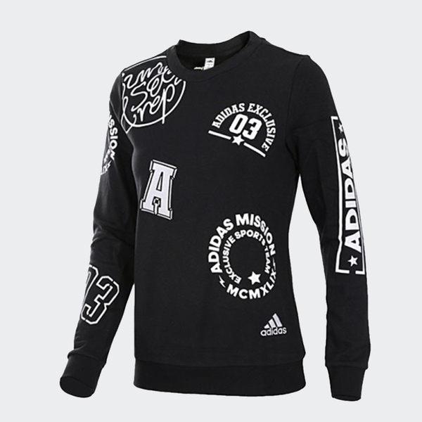 Adidas LA GFX CREW [AZ7701] 女款 運動 休閒 圓領 套頭 長袖 印花 棉T 愛迪達 黑