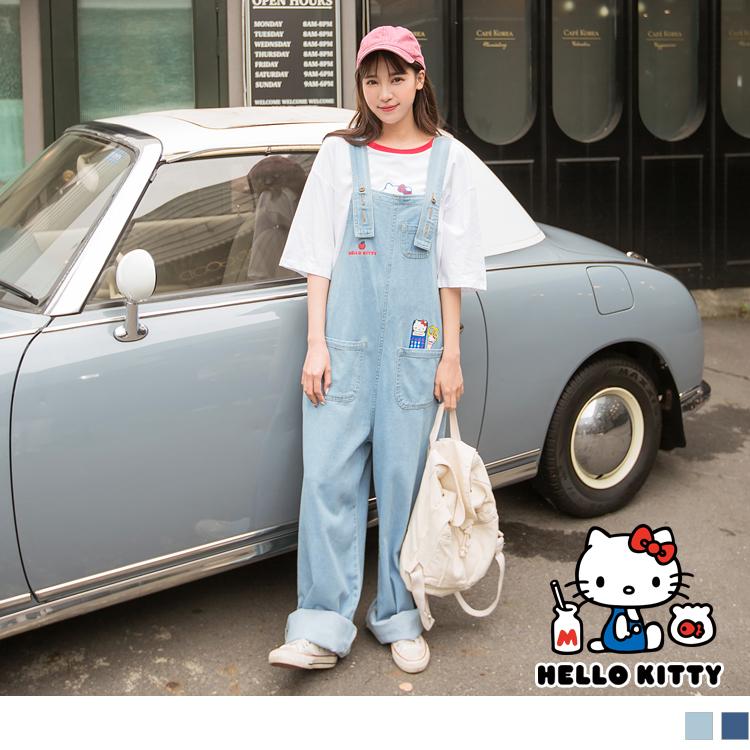 復古可愛的Kitty印圖,營造出俏麗可愛氣息~ 寬鬆的吊帶褲版型,帶有率性質感意味。 無論搭配任何上衣,皆可創造時髦有型LOOK!! ************** 小提醒: 版型偏大,請依照個人喜愛的
