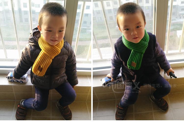 小紳士男女童秋冬防風保暖圍巾毛線圍脖2入