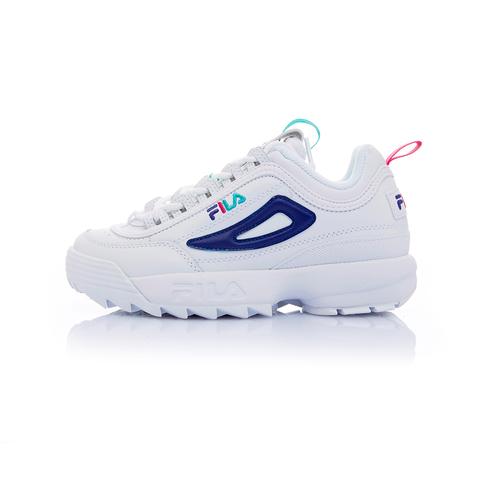 FILA DISRUPTOR2 女草寫復古運動鞋(鋸齒鞋/老爹鞋)-白 / 紫 5-C113T-169