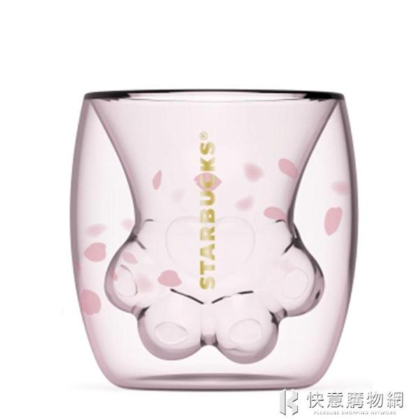 櫻花季貓爪杯限量正版雙層玻璃水杯子可愛牛奶貓抓馬克杯禮物