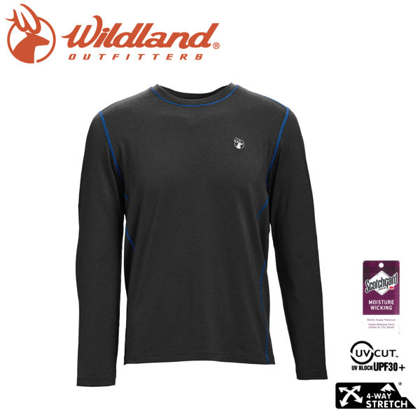 【Wildland 荒野 男 圓領雙色抗UV長袖上衣《深灰》】0A71650/涼感衣/運動衣/機能衣/抗UV