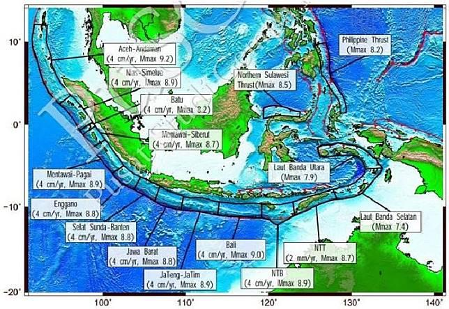 Peta zona gempa megathrust. (Pusat Studi Gempa)