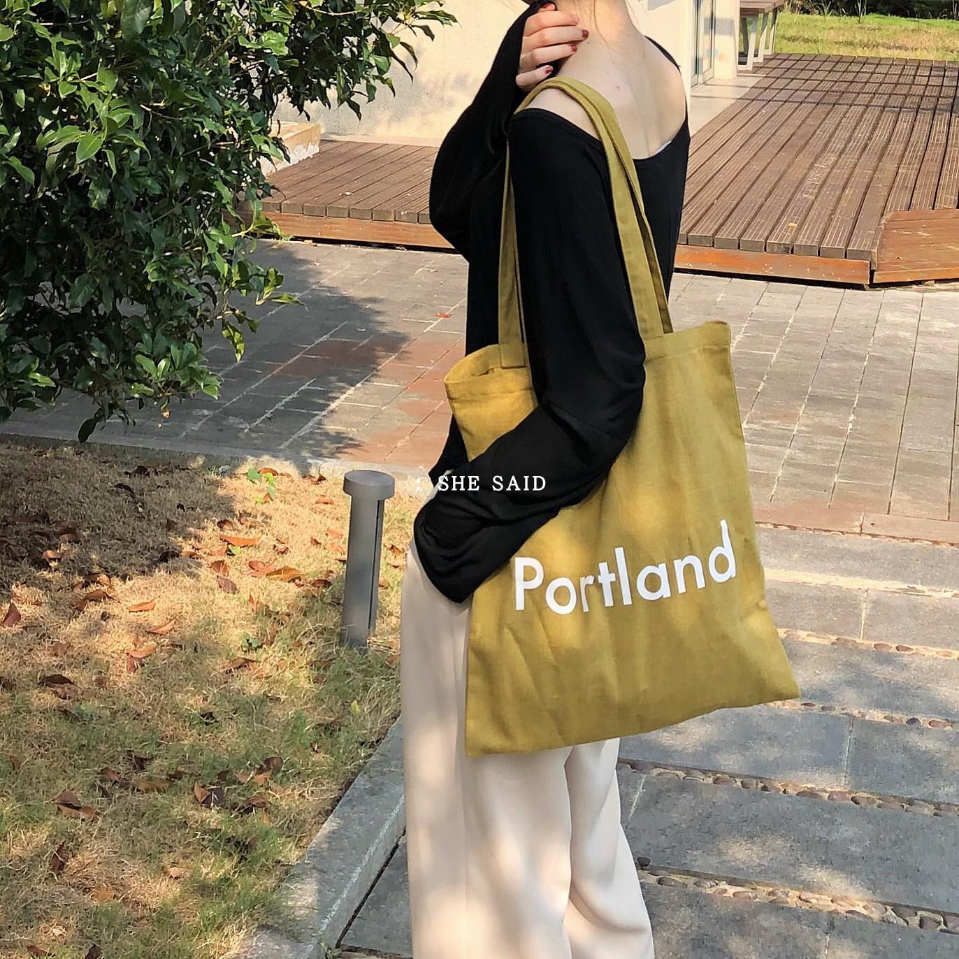 she said 韓風ins 磨毛黃做舊帆布包 portland chic學院風布袋