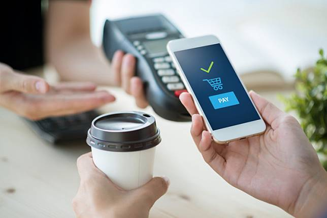 Illustration of e -wallet, mobile payment.