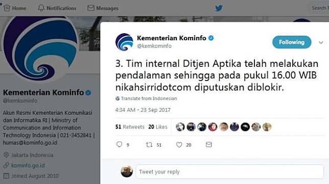 Kemkominfo mengumumkan telah memblokir website kontroversial nikahsirri.com pada Sabtu (23/9). [Twitter/@kemkominfo]