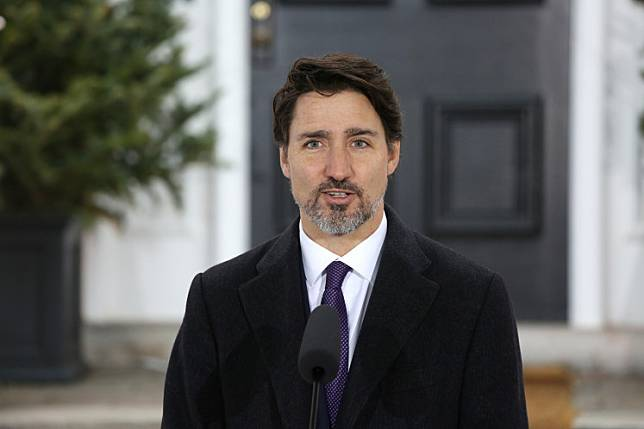 Canadian Prime Minister Justin Trudeau speaks during a news conference on COVID-19 situation in Canada from his residence March 20, 2020 in Ottawa, Canada.