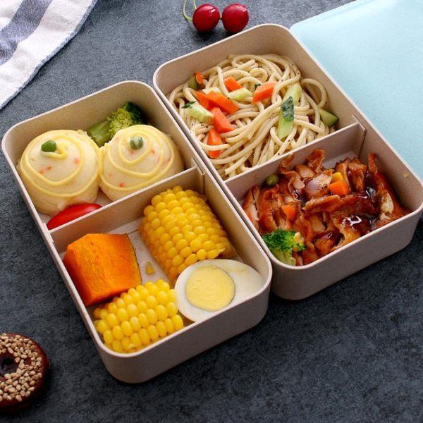 健身減肥餐分格隔輕食減脂雙層日式簡約上班族便當飯盒套裝微波爐 小明同學