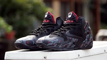 "客製改鞋 / Nike LeBron 11 ""Bat King Bloody"" 霸氣黑迷彩"