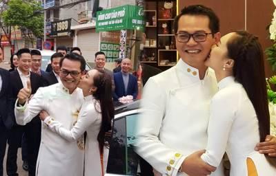 NSND Trung Hiếu 'sướng rơn' khi vợ trẻ kém 19 tuổi hôn đắm đuối trong ngày cưới