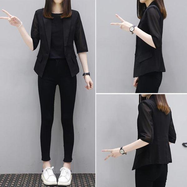 小西裝外套女2019春新款韓版休閒英倫顯瘦薄款七分袖網紅小西服女