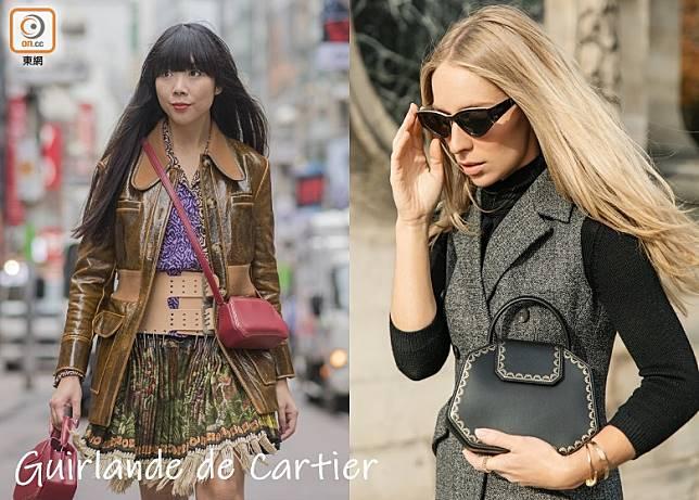 Cartier為Guirlande de Cartier 系列手袋推出更時尚小巧的袖珍款,深得Susie Lau(左)及Carin Olsson(右)等時尚達人追捧。(互聯網)