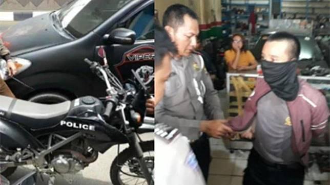 Kolase polisi gadungan bermotor KLX 150 yang melakukan tilang di Ciputat