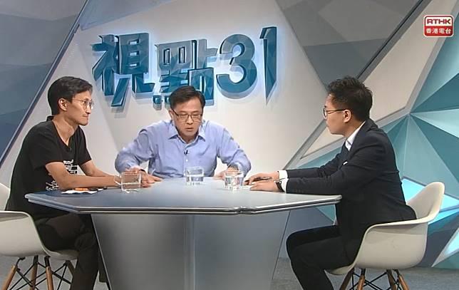 何君堯與朱凱廸昨日早上出席電台節目。(網上圖片)