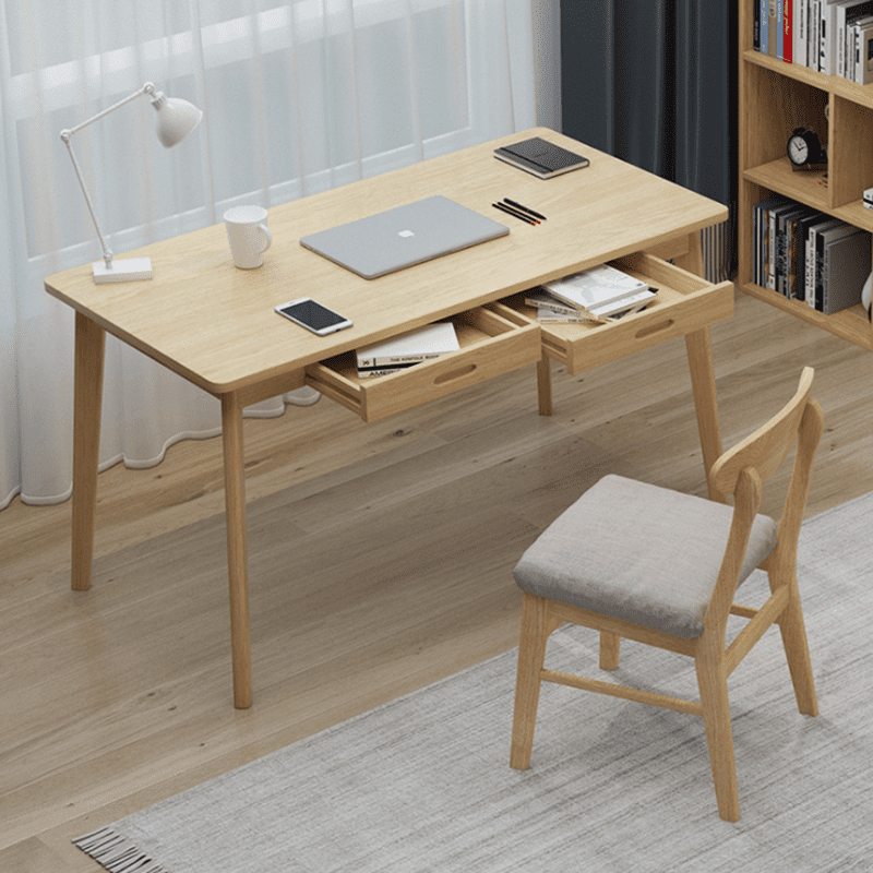 簡約實木框架抽屜電腦桌,木頭有別於鐵藝來說更有溫暖的感覺,木頭傢俱可以輕鬆搭配北歐風、日式風、波西米亞風等各種風格,擺放臥室、書房、客廳都可以,有原木、胡桃兩種顏色任您選擇~
