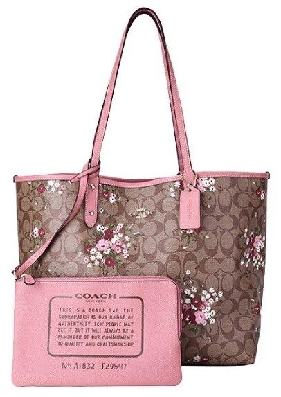 限時3折up| COACH 女士卡其印花配粉色PVC手提單肩雙面托特包 F29547|最高再折700↘情人節寵愛禮