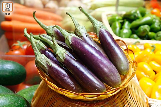 紫長茄質感適中,入口嫩滑。(郭凱敏攝)