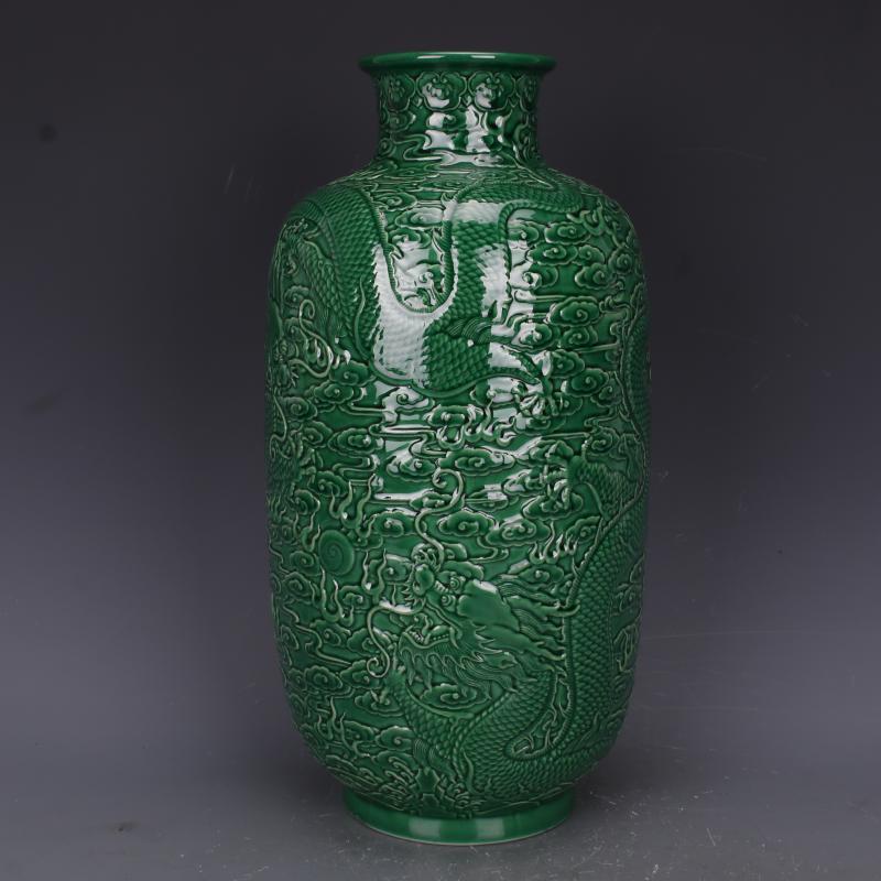 清乾隆綠釉浮雕刻龍紋冬瓜瓶仿古老貨瓷器家居中式擺件古董古玩1入