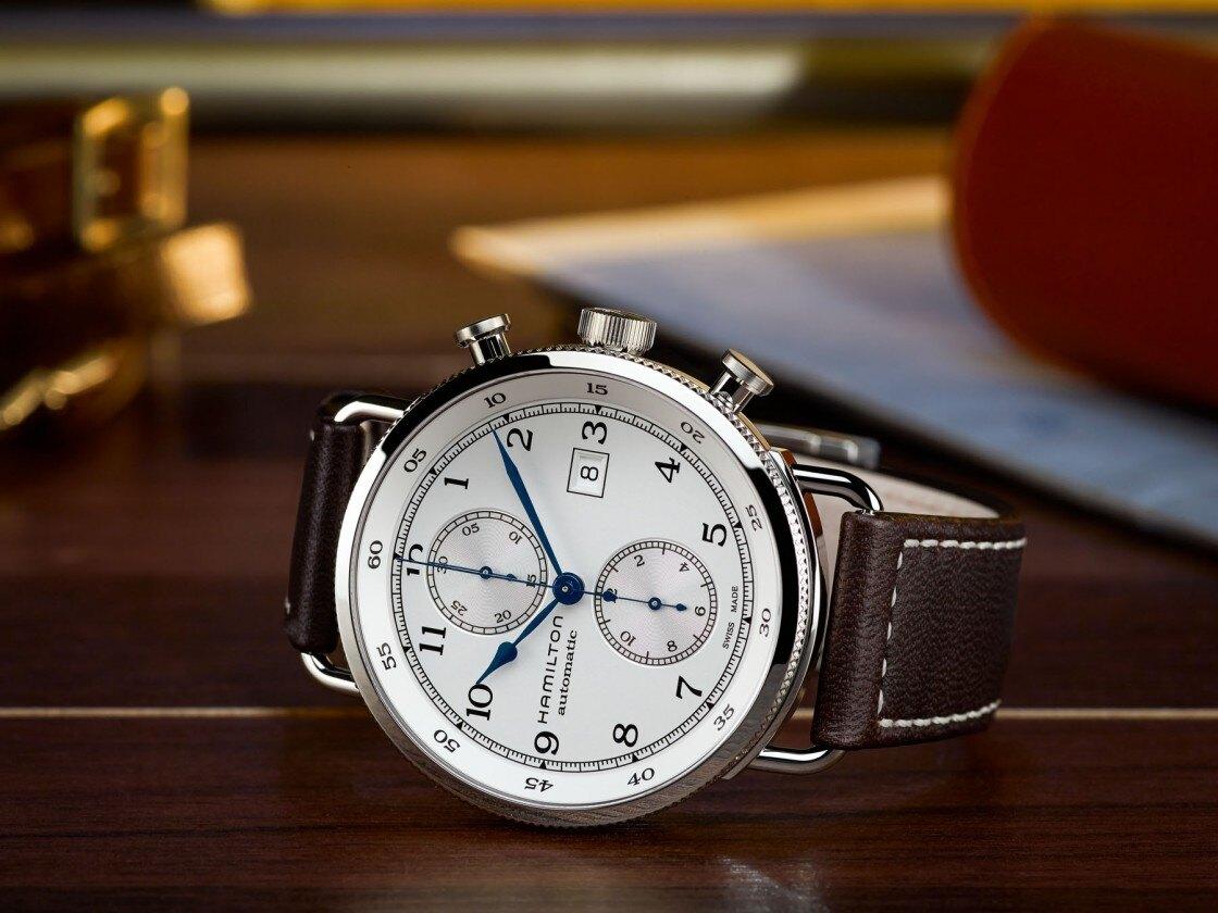 HAMILTON 漢米爾頓 紳仕三眼經典機械腕錶 H77706553 咖啡 44mm