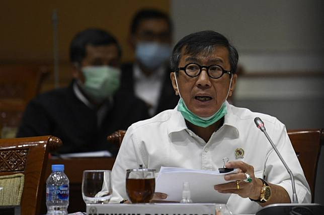 Law and Human Rights Minister Yasonna Laoly speaks during a meeting with the House of Representatives Commission III overseeing legal affairs in Senayan, Central Jakarta, on June 22.