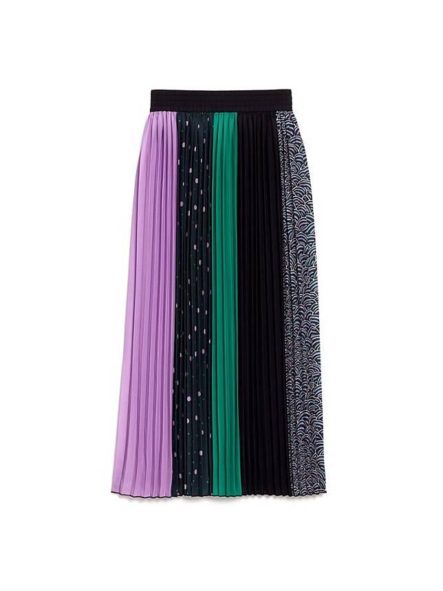KATE SPADE彩色及印花拼布絲質半截裙(互聯網)