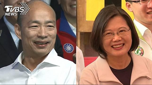 高雄市長韓國瑜(左)、總統蔡英文(右)。圖/TVBS
