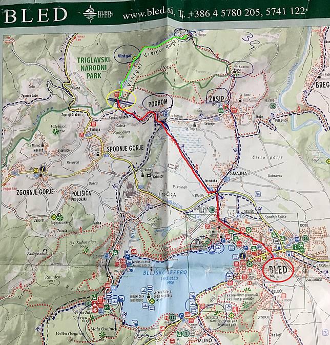 從Bled Lake前往Podhom沿途(紅線)均可看見清晰的指示牌引領前往Vintgar Gorge。甫進入入口處不久(黃圈),藍色湖水、清可見底的溪流盡入眼簾,這是在香港也難得一見的美景,教人驚嘆連連!