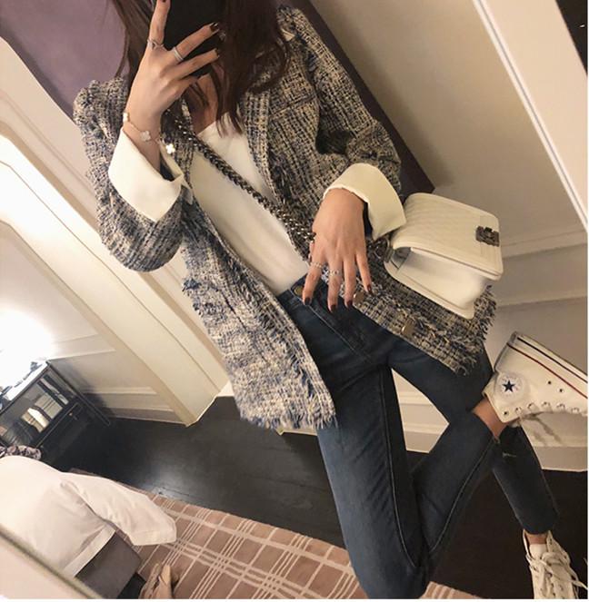 2019春季新款編織粗花呢流蘇毛邊小西裝外套女韓版修身小香風