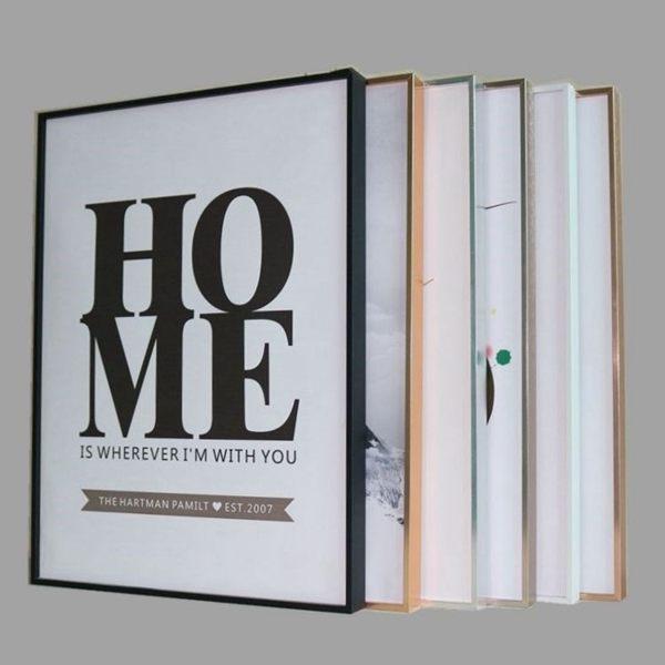 北歐簡約裝飾畫框 細窄邊金屬相框 海報框拼圖框金色裱框創意