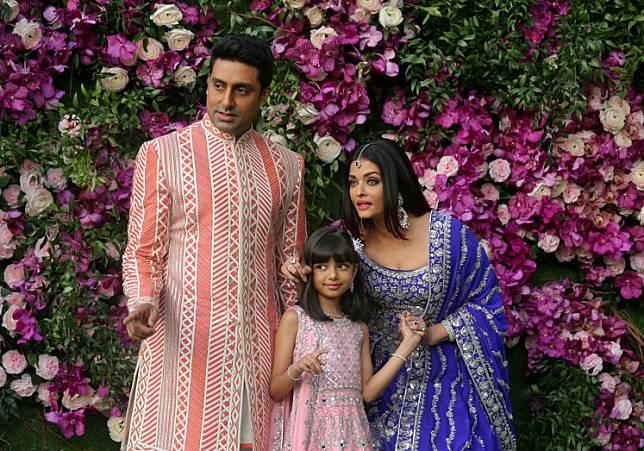 Indian film actor Abhishek Bachchan, his wife Aishwarya Rai and their daughter Aaradhya at the wedding of Akash Ambani, the son of Reliance Industries chairman Mukesh Ambani, in Mumbai, India, on March 9, 2019.