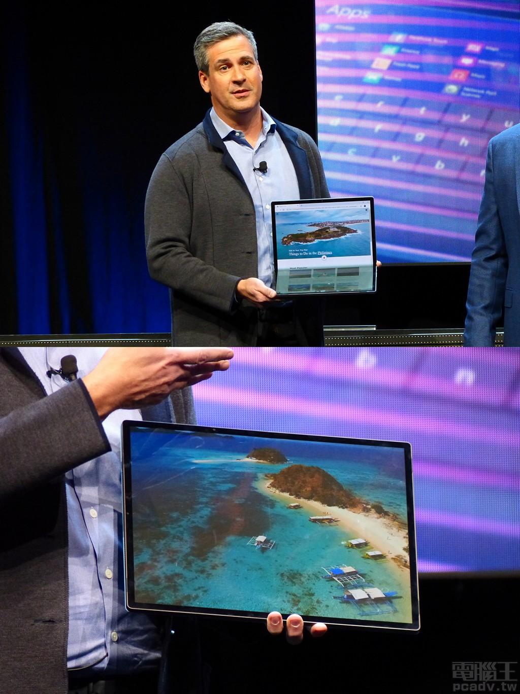 概念機代號「Horseshoe Bend」採用可折疊式 OLED 螢幕,攤平後的螢幕尺寸達 17 吋以上,但是折疊後卻僅僅佔有 12 吋筆電的體積,內建下一世代行動版處理器代號 Tiger Lake。
