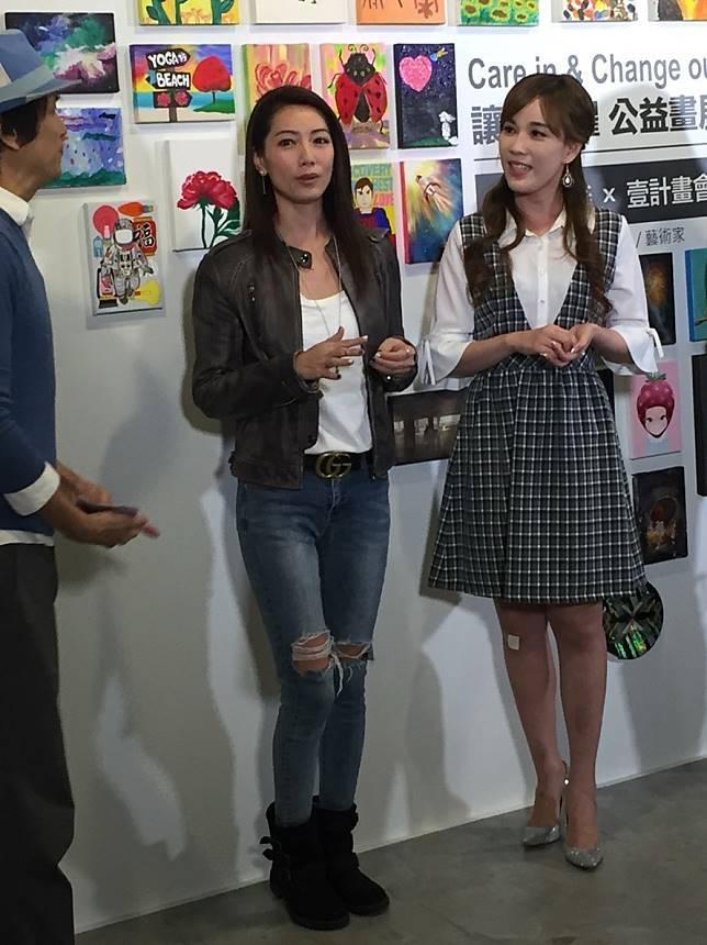 林韋君出席「讓愛閃耀」公益畫展活動,捐出畫作關懷腦瘤兒童協會等社福單位。記者陳慧貞/攝影