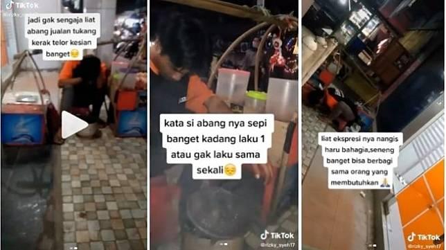 Jualan Tak Laku, Pedagang Kerak Telor Menangis Cium Tanah Usai Buka Amplop (ist)