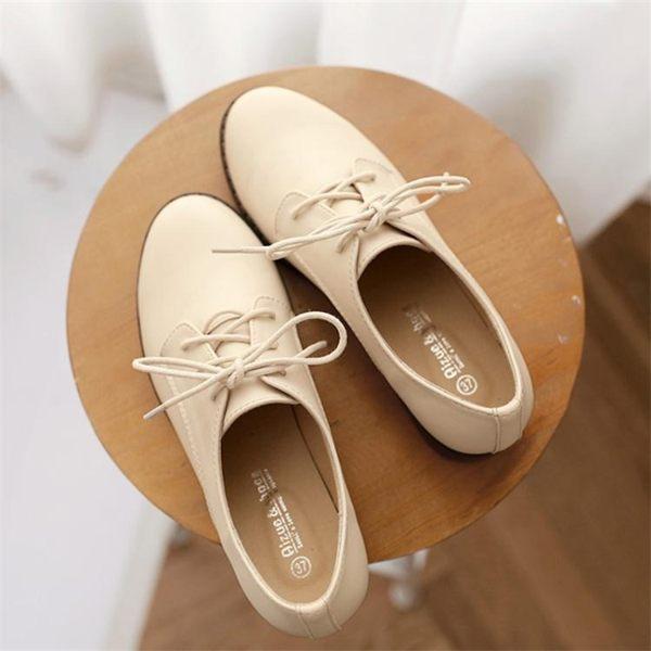 平底單鞋女新款韓版百搭夏季小皮鞋女英倫風復古粗跟大碼女鞋