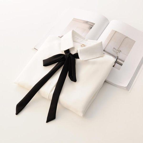 森雅誠品 雪紡衫 日系學院風黑色蝴蝶結系帶長袖襯衣雪紡白色襯衫女