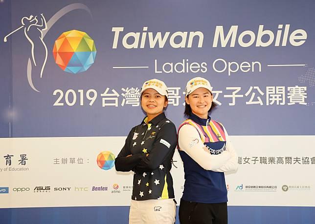 ▲衛冕冠軍李旻(右)與旅美LPGA名將徐薇淩賽前記者會互相「嗆聲」。(圖/公關提供)