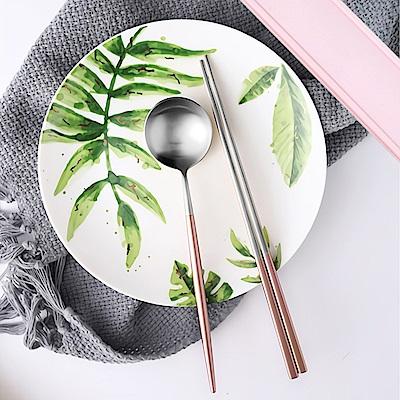 Homely Zakka簡約時尚北歐風304不鏽鋼餐具組(筷子+湯匙)-玫瑰金