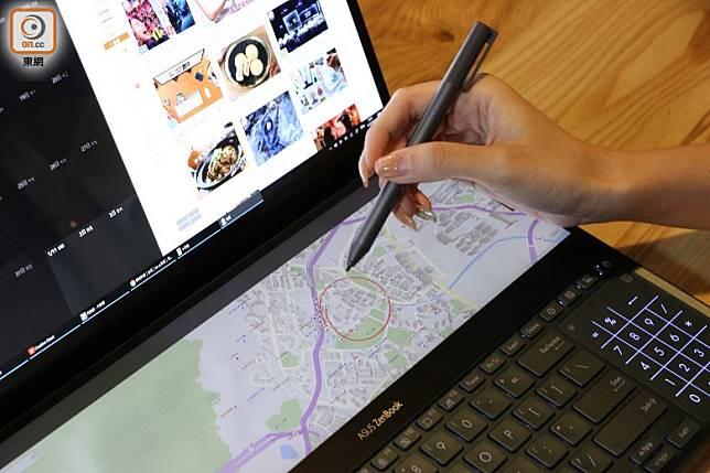 附設ASUS Pen,可以隨時手寫、繪圖。(盧展程攝)