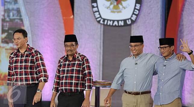 Keakraban Paslon Cagub dan Cawagub Usai Debat Pilkada DKI Jakarta 2017