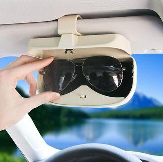 車載眼鏡盒汽車用遮陽板收納卡片眼睛架夾多功能創意車內墨鏡支架