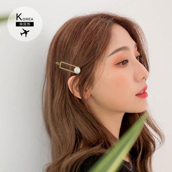 《ZB0595》韓國製~仿大理石長方形/圓圈髮夾 OrangeBear