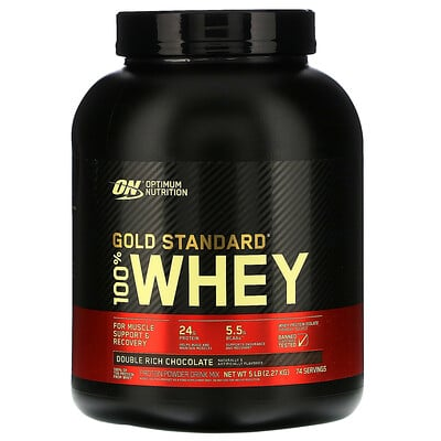Optimum Nutrition 金標準全乳清蛋白,雙份濃郁巧克力,5 磅(2.27 千克)
