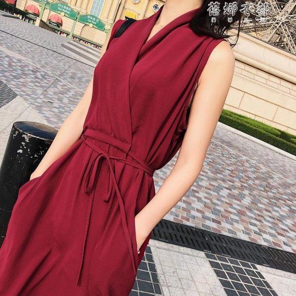 韓版夏季通勤中腰修身純色無袖連身裙F6316 蓓娜衣都
